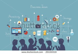 stock-vector-business-people-group-over-conceptual-silhouettes-of-people-on-a-background-of-business-icons-201193319