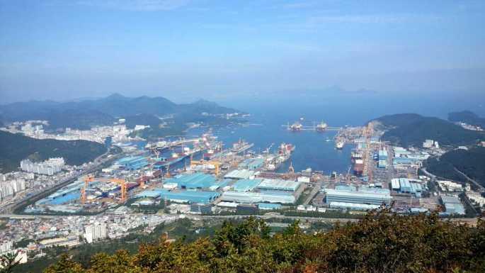 Oversiktsbilde av DSME-verftet i Okpo, Sør-Korea